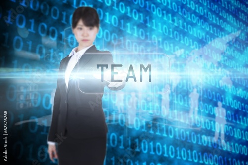 Team against shiny blue binary code on black background