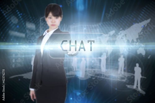Chat against futuristic black background