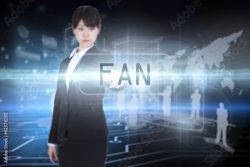 Fan against circuit board on futuristic background