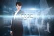 Code against shiny cityscape on black background