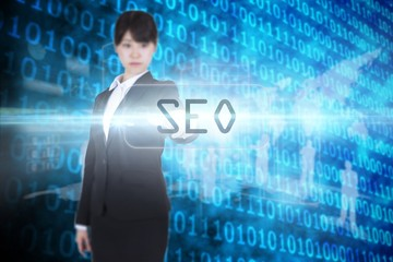 Seo against shiny blue binary code on black background