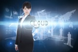 Cloud against glowing technological background
