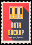 Data Backup on Red in Flat Design.