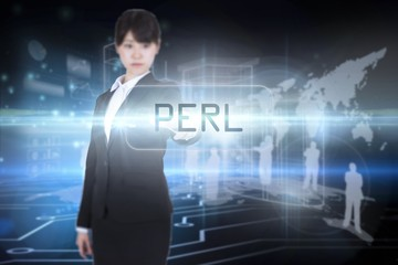 Perl against circuit board on futuristic background