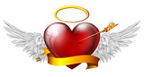 red heart with angel wings and sash, pierced by an arrow of fire