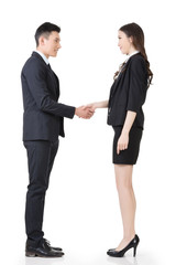 Asian business man and woman shake hands