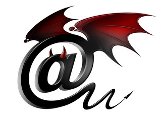 email icon as a symbol of the threat of viruses and hackers