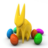 Creative Easter rabbit with colorful Easter eggs, 3d