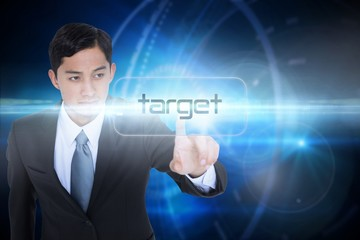 Target against futuristic black background with circles