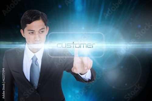 Customer against futuristic black background