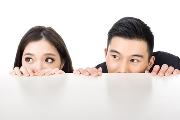 business man and woman hide