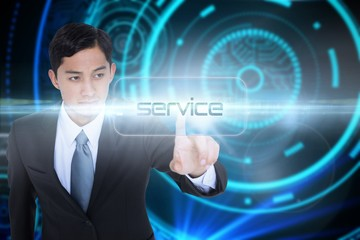 Service against futuristic technological background