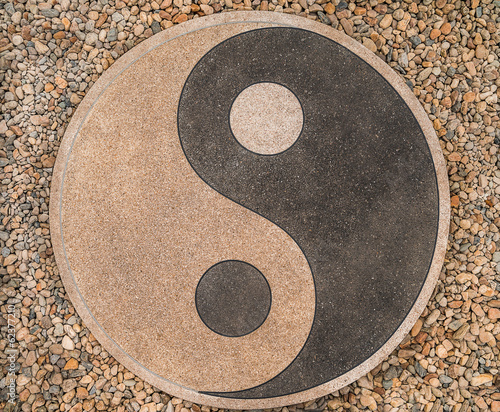 yin-yang of the stones on the road