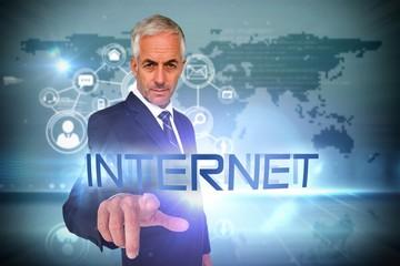 Internet against futuristic technology interface