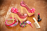 Women shoes pink. women's accessories. Photo on vintage board