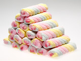 Stack of colorful twist marshmallow