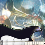 abstract grunge background with electric guitar and musical inst