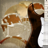 abstract grunge background with guitar and drum kit