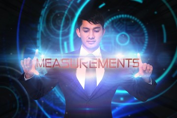 Measurements against glowing swirl on black background