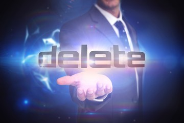 Delete against glowing technological background