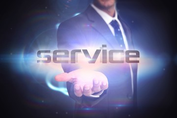 Service against black background with shiny sphere