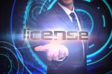 License against futuristic technological background