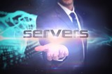 Servers against abstract blue glowing black background