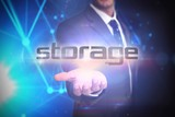 Storage against futuristic black background