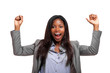 Afro businesswoman raising arms in sign of victory