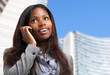 Black business woman talking at the phone