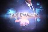 Software against futuristic technology interface
