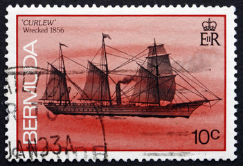 Postage stamp Bermuda 1986 Curlew, Shipwreck
