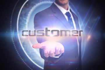 Customer against black background with glowing circle