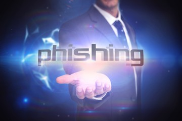 Phishing against glowing technological background
