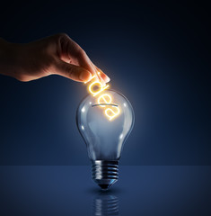 concept of investing in their ideas - piggy bank - bulb