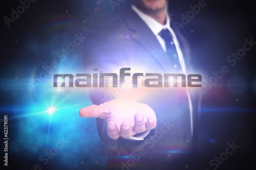 Mainframe against black background with glowing light