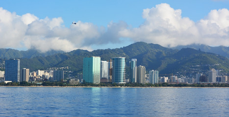 Honolulu skyline with blue sky