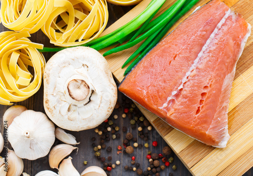 Ingredients for salmon pasta