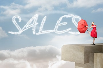 Sales against balcony and bright sky