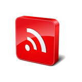 RSS 3d Rounded Corner Red Vector Icon Button