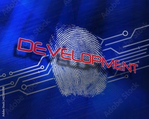 Development against fingerprint on digital blue background