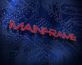 Mainframe against blue technology background