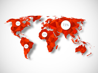 Polygonal world map with infographic elements