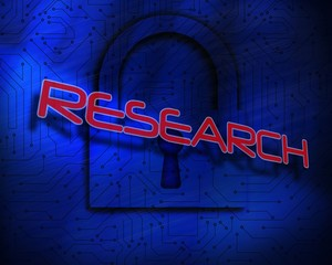 Research against lock on digital background
