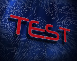 Test against blue technology background