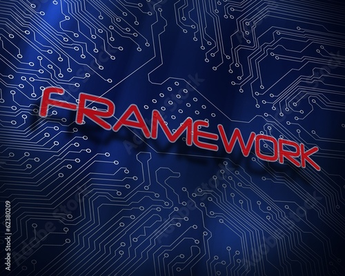 Framework against blue technology background