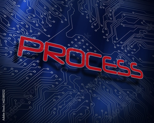 Process against blue technology background