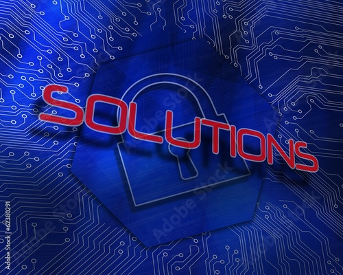 Solutions against lock graphic on blue background