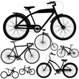 Set of different bicycles, bikes