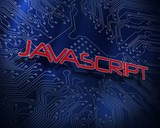 Javascript against blue technology background